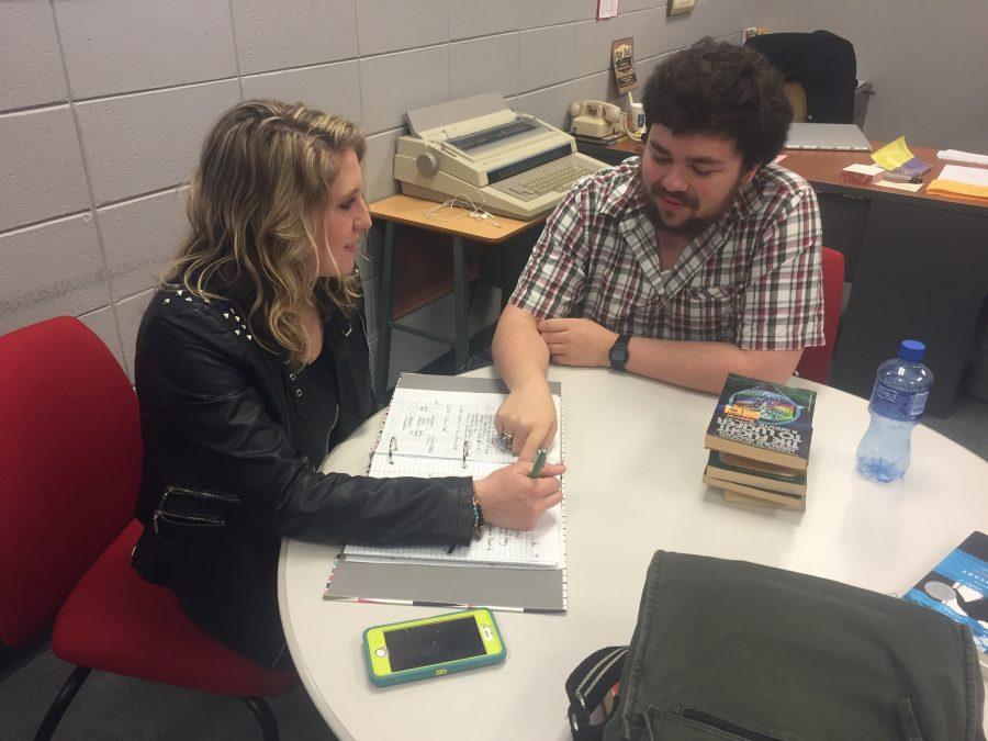 Jess Bennett tutoring a student in the Writing Center