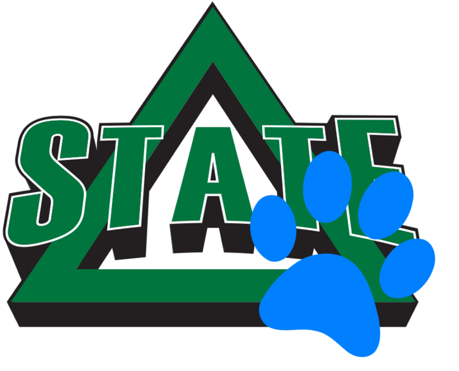 There is one of Blue's pawprints on the Delta State logo—it must be a clue for allstudents that school is back in session!
