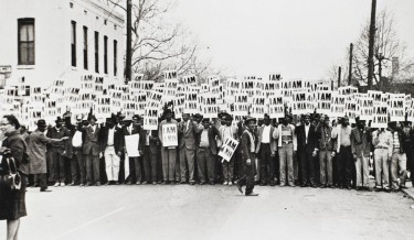 Caption: I Am a Man: Sanitation Workers Strike, Memphis, Tennessee, March 28th, 1968. Ernest Withers, 1968; printed 1994. Gelatin silver print. Museum purchase, 2006.322.1.