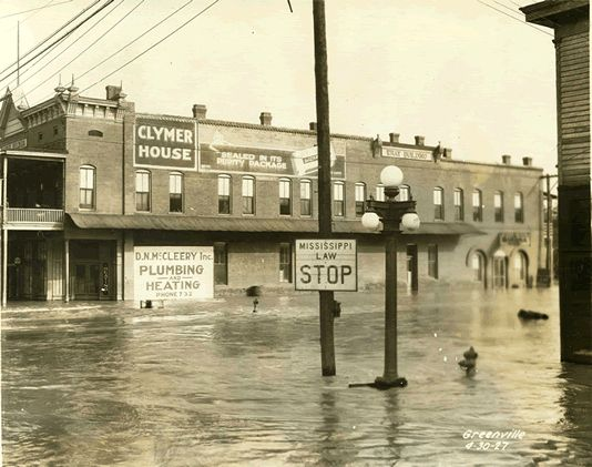 Greenville, Miss. streets during the Great Flood, taken from Miss. Archives