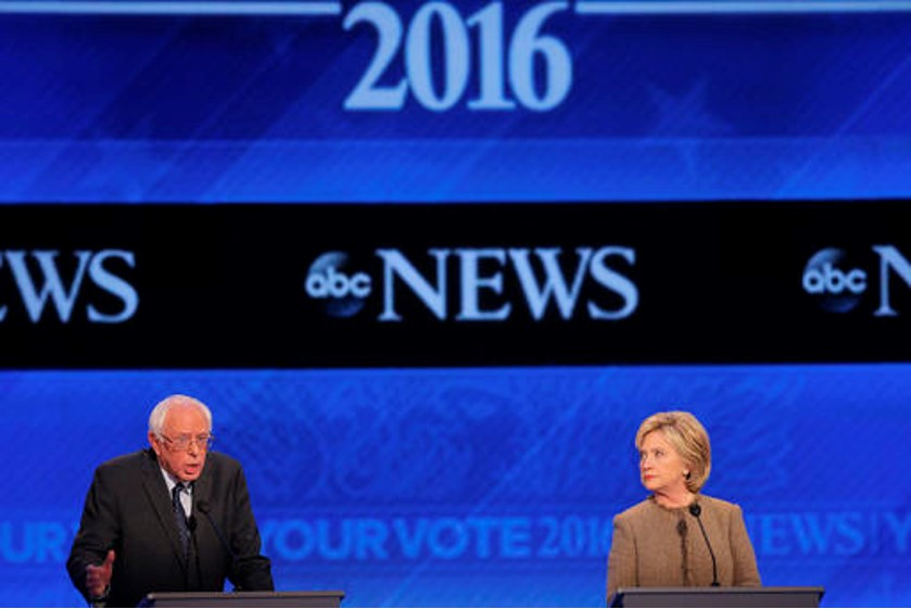 Bernie Sanders and Hillary Clinton facing off as the last two competitors in the 2016 Democratic Rumble match.